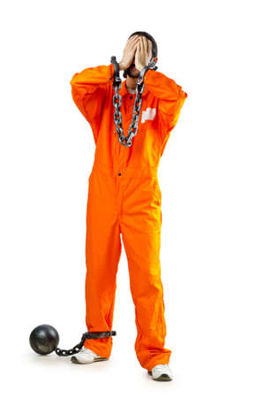 Convict with handcuffs on white Stock Photo - 11587934