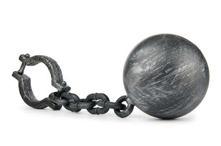 prison ball: Metal shackles isolated on the white