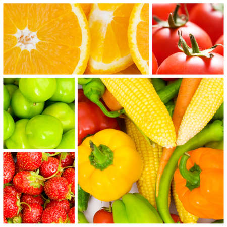 fruits and vegetables: Set of various food items Stock Photo