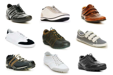 sport clothes: Various shoes isolated on the white