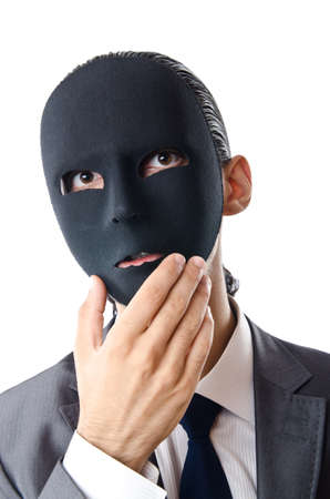 Industrial espionage concept with masked businessman Stock Photo - 12109310