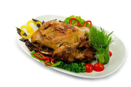 Roasted turkey served in plate photo