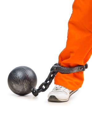 steel balls: Convicted criminal on white background