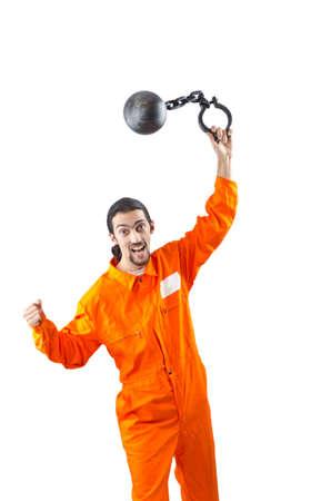 Convicted criminal on white background Stock Photo - 12123168