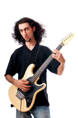 Guitar player isolated on the white background photo