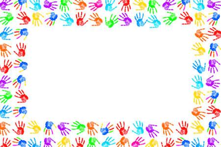 empreinte de main: Cadre en empreintes de mains de peinture