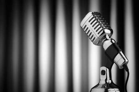 micro recording: Vintage microphone against the background Stock Photo