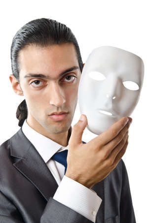 Industrial espionage concept with masked businessman Stock Photo - 12130732