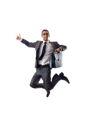 happy businessman: Jumping businessman isolated on white