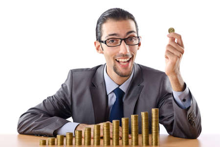 Growth concept with coins and businessman Stock Photo - 12130645