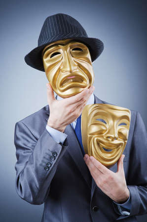 Businessman with mask concealing his identity Stock Photo - 12109556