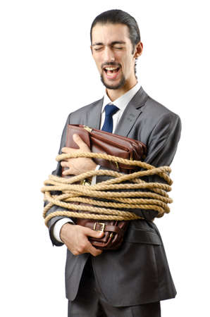 Businessman tied up on white Stock Photo - 12130584