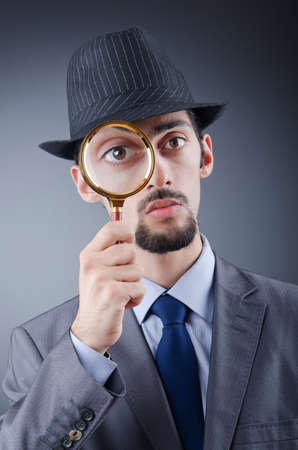 sherlock: Detective and magnifying glass Stock Photo