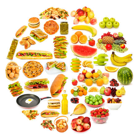 Circle with lots of food items photo