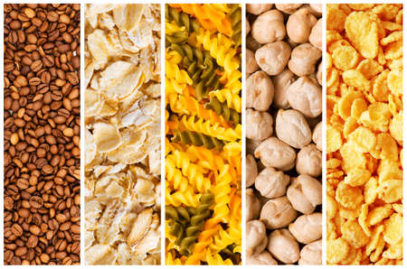 Selection of various food backgrounds photo