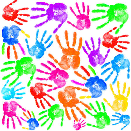 colored background: Hand print on the white