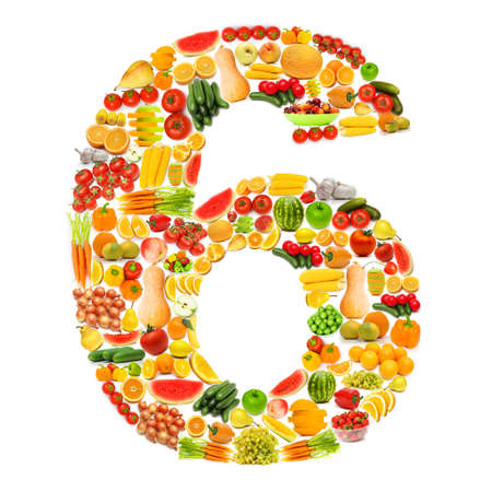 Alphabet made of many fruits and vegetables photo