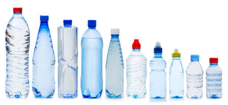 Many water bottles isolated on white Stock Photo - 12226029