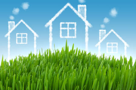 Real estate concept with houses in the sky Stock Photo - 12226069