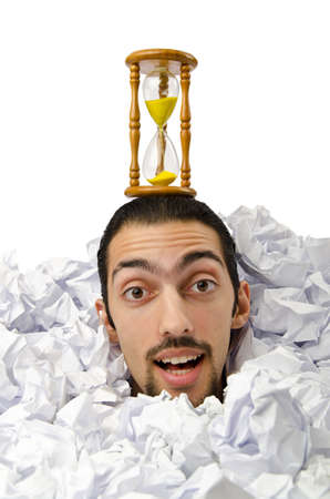 Man with lots of crumpled paper Stock Photo - 12283689