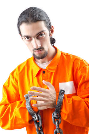 Convicted criminal on white background photo