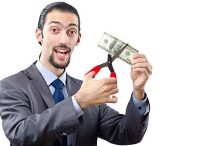 Man cutting money on white photo