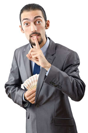 Man with money isolated on the white photo