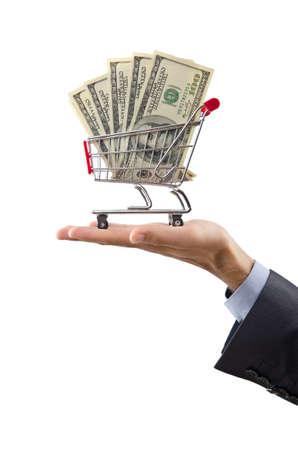 Shopping cart full of money Stock Photo - 12226053