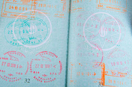 Passport with airport stamps photo