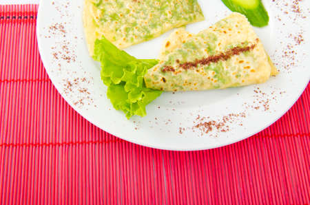 Pancake with herbs in the plate Stock Photo - 12227361