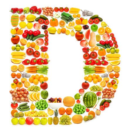 Alphabet made of many fruits and vegetables Stock Photo - 12227321