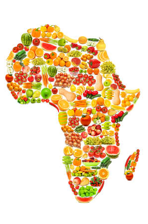 World map made of many fruits and vegetables