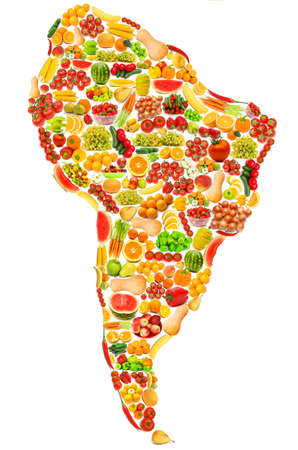 World map made of many fruits and vegetables Stock Photo - 12227311