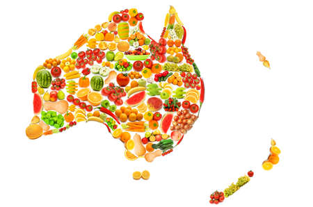 World map made of many fruits and vegetables photo