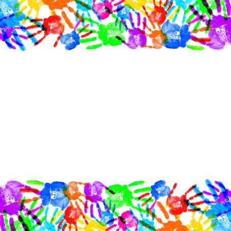 color image creativity: Mano de impresi�n en el blanco Foto de archivo