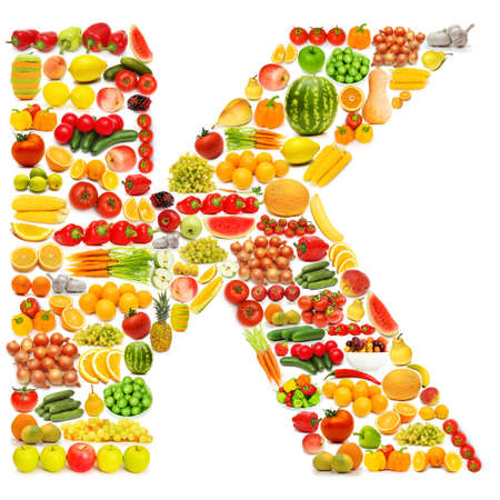 Alphabet made of many fruits and vegetables Stock Photo - 12227347