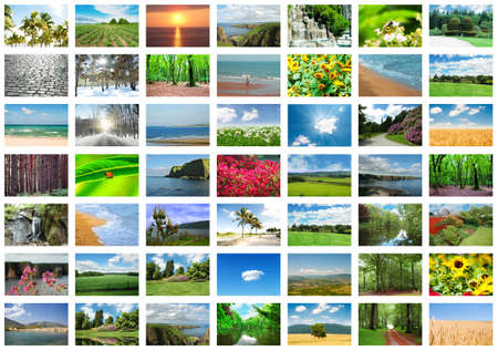 season photos: Collage of many nature photos Stock Photo