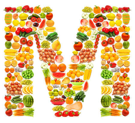 Alphabet made of many fruits and vegetables Stock Photo - 12228537