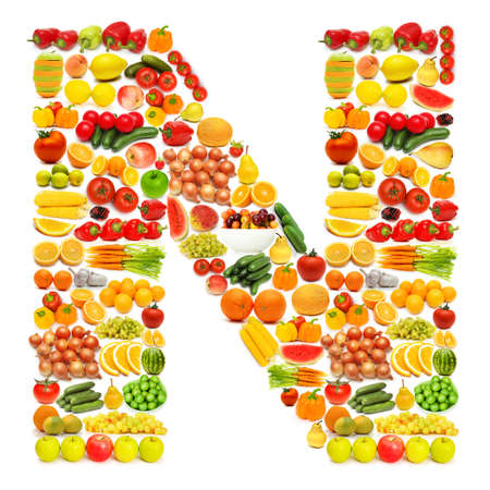alphabetic: Alphabet made of many fruits and vegetables