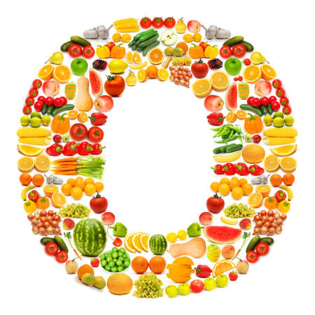 Alphabet made of many fruits and vegetables Stock Photo - 12227387