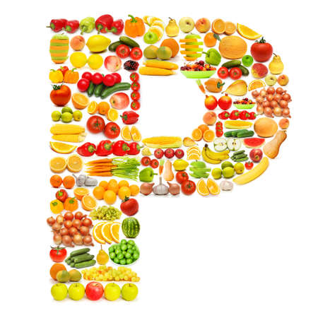 Alphabet made of many fruits and vegetables Stock Photo - 12227315