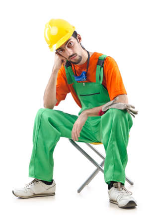 Construction worker isolated on white Stock Photo - 12283682