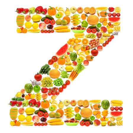 Alphabet made of many fruits and vegetables Stock Photo - 12227372