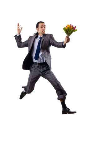 Young man with tulip flowers Stock Photo - 12283751