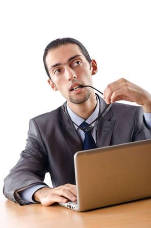 Busissman working on the laptop photo
