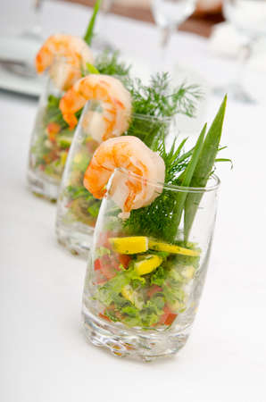 Prawns served in glasses photo