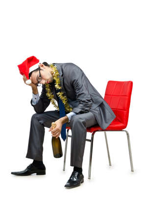 Drunk office worker after christmas party Stock Photo - 12283762