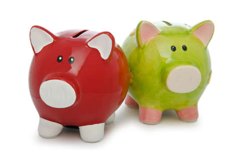 Piggy bank isolated on the white background photo