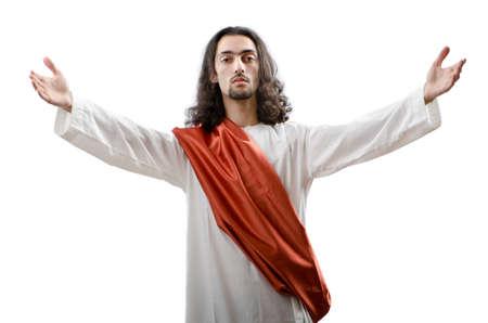 gesu: Ges� Cristo personifacation isolato su bianco Archivio Fotografico