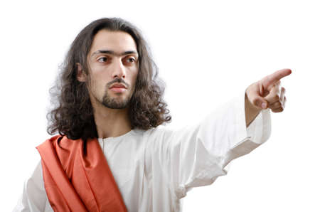 jesus face: Jesus Christ personifacation isolated on the white